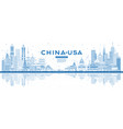 outline china and usa skyline with blue buildings vector image