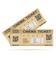 paper cinema ticket isolated on white vector image