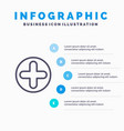 plus sign hospital medical line icon with 5 steps vector image vector image