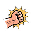 punch pop art retro comic style clenched fist vector image vector image