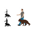 realistic colored of a man walks a german vector image vector image