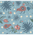 seamless floral pattern with exotic kiwi bird vector image