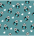 seamless pattern with an animal panda bear vector image vector image