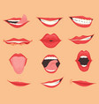 set female lips with various mouth emotions and vector image