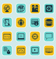 set of 16 marketing icons includes video player vector image vector image