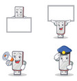 set of flashdisk character with police board vector image vector image