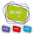 set of four big sale stickers with abstract lines vector image vector image