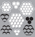 set of geometric patterns with honeycombs vector image