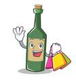 shopping wine bottle character cartoon vector image