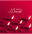 stylish happy diwali red diya background vector image vector image