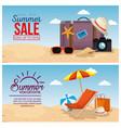 summer holidays beach scene vector image vector image