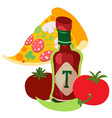 tomato ketchup with hot pepper hot sauce vector image vector image