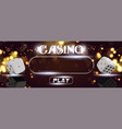 top view of casino sign poker dice on vector image