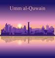 umm al-quwain silhouette on sunset background vector image