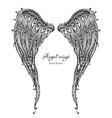 Vetor hand drawn ornate angel wings zentangle vector image