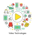 Video Technologies Line Art Thin Icons Set vector image vector image