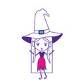 witch with hat and straight long hair on color vector image vector image