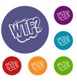 wtf comic book bubble text icons set vector image