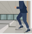 young handsome business man walking up the stairs vector image
