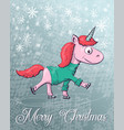 christmas with unicorn merry vector image