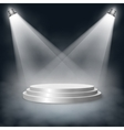 Pedestal with steps lit two lights in the fog vector image