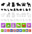 an unrealistic flat animal icons in set collection vector image