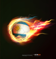 argentina flag with flying soccer ball on fire vector image vector image