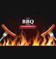 bbq sausage fire realistic vertical menu vector image vector image