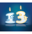 Birthday candle number 13 vector image