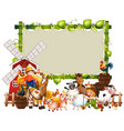 blank green wood frame template with animal farm vector image vector image