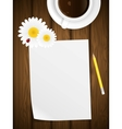 Blank paper on wooden background with flowers vector image vector image