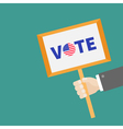 Businessman hand holding plate Vote text with vector image