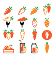 Carrot carrot meals - cake juice icons se vector image vector image