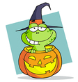 Cartoon Character Halloween Frog vector image vector image