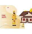 cartoon concept firefighter vector image vector image