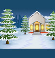 cartoon of winter night landscape with house and s vector image vector image