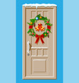 christmas door decoration isolated vector image