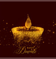 creative diwali diya made with golden particles vector image vector image