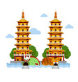 dragon and tiger temple at kaohsiung taiwan vector image