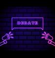 elections megaphone icon in neon styledebate vector image