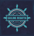 emblem with steering wheel nautical vector image