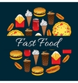Fast food mednu decoration design vector image vector image