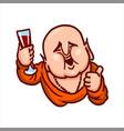 Fat buddha holding a glass of wine