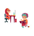 flat girl using pc kid with laptop vector image