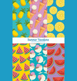 fresh fruits set patterns backgrounds vector image