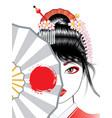geisha with fan vector image vector image