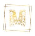 golden ornamental alphabet letter m font on white
