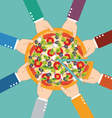 Group of business man eating pizza together vector image