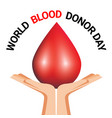 hand holding blood drop for world blood donor day vector image vector image