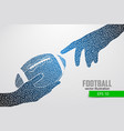 hand holds the rugby ball silhouette from triangle vector image